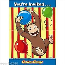 CURIOUS GEORGE INVITATIONS (8) ~ Birthday Party Supplies Stationery Cards Notes