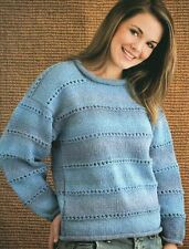 Knitting Pattern For An Easy To Make Womens Classic Round Neck Jumper