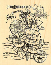 Flowers Garden Seed Catalog Collage WoodMounted RubberStamp Stampendous NEW R161