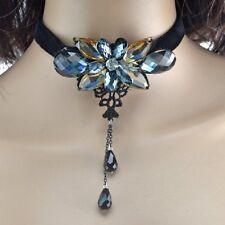 Samt Collier Schwarz Kristall Blume grau blau champagner Gothic Kropfband Kette