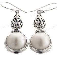 "1 1/4"" ROUND WHITE MABE PEARL 925 STERLING SILVER earrings"