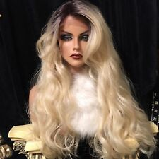 Rooted 613 Blonde SWISS Lace Front Wig Lovely Long, HF Synthetic Wig!