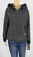 DKNY Jeans Womens Black Faux Fur Hooded Jacket Coat Size XL