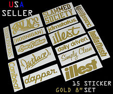 ILLEST FATLACE STANCEWORKS JDM SET 8 INCH 15 GOLD STICKERS DECAL DAPPER STATIC