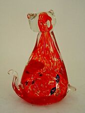 """Vintage Murano Sassy Art Glass Cat with Red and Clear Glass Millefiori 5"""" Tall"""