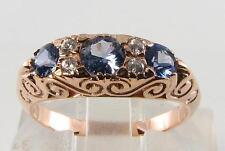 Grandi 9 Carati 9k 9 Carati Oro Rosa RARO Ceylon blue sapphire & diamond ring ridimensionamento libero