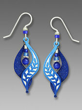 Adajio Royal BLUE LEAF Motif Split Curve EARRINGS STERLING Silver Bead Drop 7610