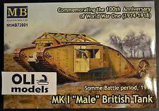 "1/72 WWI MK I ""Male"" British Tank Somme Battle period 1916 - Master Box 72001"
