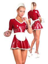 100% Latex Rubber Gummi 0.45mm Maid Dress Skirt Apron Suit Catsuit Uniform Hot
