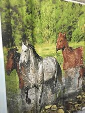 Wild Horses Western Bathroom Shower Curtain Running Galloping Horses Cowboy Bath
