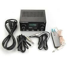 Digital LCD Dual Tattoo Machine Foot Pedal Switch 2 Clip Cords with Power Supply