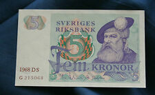 Sweden 5 Kronor Unc Banknote 1968 Scandinavian Paper Money King Gustav Vasa