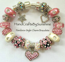 "NEW Silver European Style Barrel Clasp Charm Bracelet Heart Love Pink ""Prom""!"