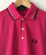 FRED PERRY MADE IN JAPAN PINK CLASSIC TWIN TIPPED POLO SHIRT XS / S mod weller