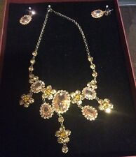 Matching Earings and Necklace Costume Jewelry Amber