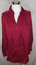 Lane Bryant Shirt Top 18W Deep Red Pockets Military Inspired Stretch