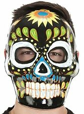 Day of Dead Mask Halloween Black Full Face Costume Día de la máscara muerta NEW