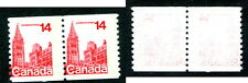 MNH Canada 14 Cent Parliament Coil Pair Double Error #730var (Lot #11375)