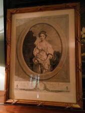 """Gravure """"La cruche cassée"""" de Greuze, cadre doré. 64x49 cm."""