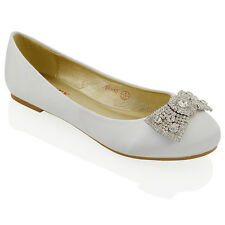 WOMENS WEDDING BRIDAL EVENING JEWELLED BROOCH PUMPS LADIES FLAT DOLLY SHOES