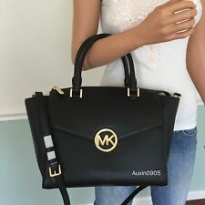 NEW! MICHAEL KORS Black Leather Large Satchel Tote Shoulder Crossbody Bag Purse