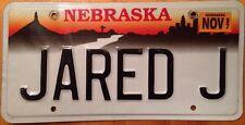 Nebraska Vanity JARED J license Plate Jered Jarrod Jerred Jarad Jarek Jareth Jar
