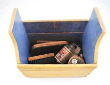 Vintage Hand Made Shoe Shine Box Wood Wooden & Accessories Brushes Horn  DD2P4