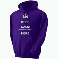 KEEP CALM PERSONALISED HOODY CUSTOM PRINTED HOODED SWEATSHIRT HOODIE 12 COLOURS