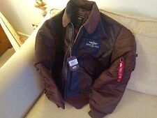 Breitling Pilot Aircrew Aviator Bomber Brown Leather Flying Jacket MEDIUM New