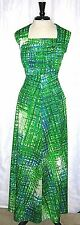 Women's Leslie Fay Knits Vintage Hippie Boho Green Print Empire Maxi Dress Large