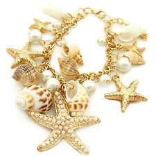 Fashion Chunky Ocean Shell Starfish Pearl Gold Statement Bib Multi Bracelets New