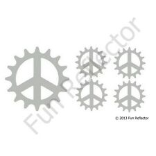 silver Peace Cog Bicycle Reflective Stickers Decals