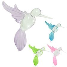 Hummingbird Ornament Crystal Glass Blown Figurine Solid Frost Clear Body Birds