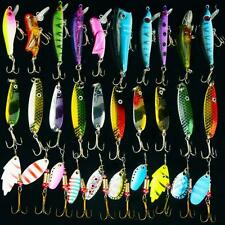 New Lot 30Pcs Assorted Fishing Lures Spoon Spinner Bait Hooks Poper Crankbait