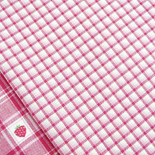 Cherry pink, linen and white mini check fabric/ quilt doll patchwork toy vintage