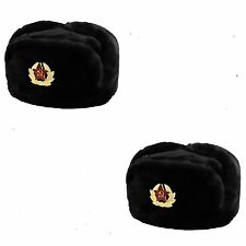 2 RUSSIAN TRAPPER HAT WITH  Badge FAUX FUR USHANKA COSSACK FLAPS