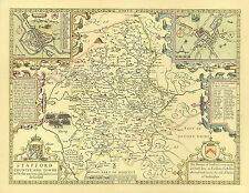 Staffordshire Replica 1610 Old John Speed 17c  Map Full Size Print  UNIQUE Gift!