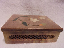 BROWISH MARBLE TRINKET BOX WITH MOTHER OF PEARL INLAID FLOWERS..SO DECORATIVE