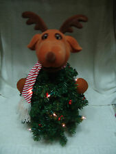 VNTG SINGING ANIMATED REINDEER CHRISTMAS TREE WITH ORIGINAL BOX 22 INCHES TALL