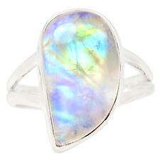 Rainbow Moonstone 925 Sterling Silver Ring Jewelry s.8 21036