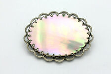 Sterling Silver .925 Beautiful Vintage Large Mother of Pearl Pin14.2g #6553