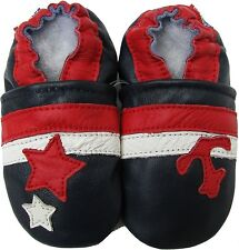 carozoo star anchor dark blue 2-3y soft leather toddler shoes
