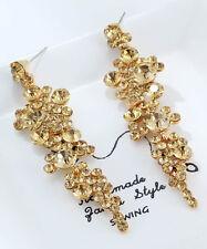 1 pair Elegant Yellow Crystal Rhinestone  Ear Drop Dangle Stud long  Earrings 29