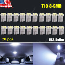 20 PCS Cool White T10 W5W 194 8-SMD Side Wedge License Interior LED Light Lamps