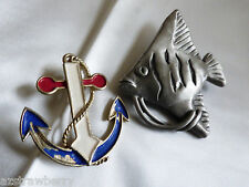 Lot of 2 Signed  JJ tropical fish and ancor pin broch