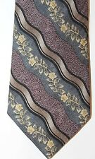 Bill Blass Men Neck Tie Floral Violet Blue Gray Striped 100% Silk Made In Canada
