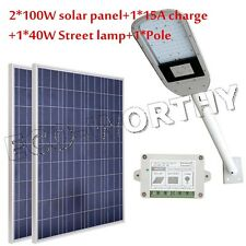 200W 2*100W Solar Panel Kit +40W 12V Road Lamp+Light Pole Arm for Garden Path