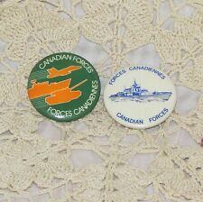 CANADIAN FORCES 2 VINTAGE PINBACK BUTTON SHIP JET TANK MILITARY ARMY NAVY CANADA