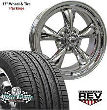 17x7-17x8 POLISHED REV CLASSIC 100 WHEELS TIRES FORD MUSTANG 1965 1966 1967 1968