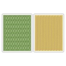 SIZZIX TEXTURE FADES 2 Embossing Folders CHEVRON & LATTICE Tim Holtz  659488